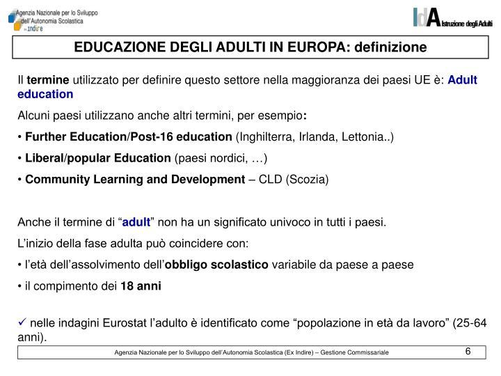 EDUCAZIONE DEGLI ADULTI IN EUROPA: definizione