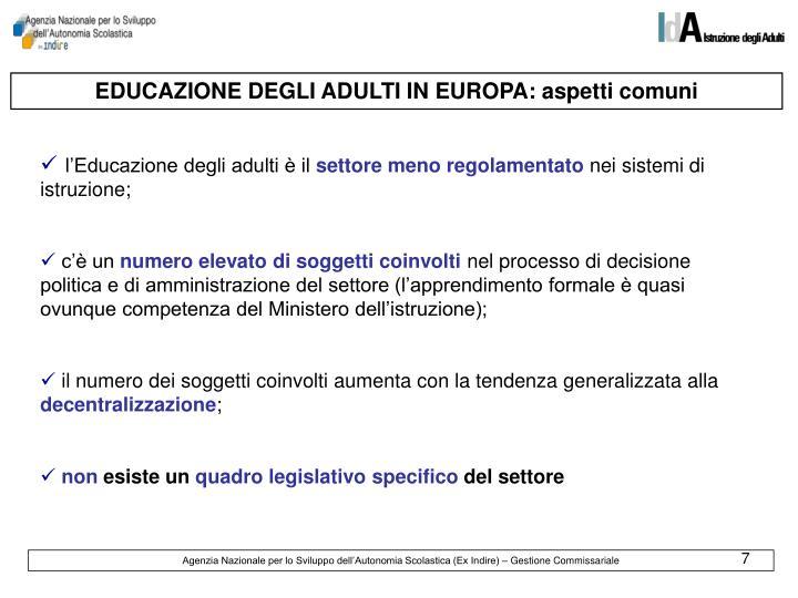 EDUCAZIONE DEGLI ADULTI IN EUROPA: aspetti comuni