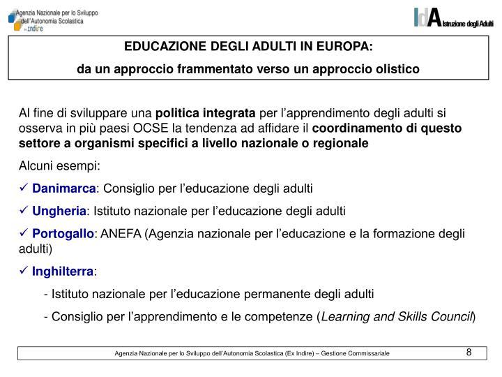 EDUCAZIONE DEGLI ADULTI IN EUROPA: