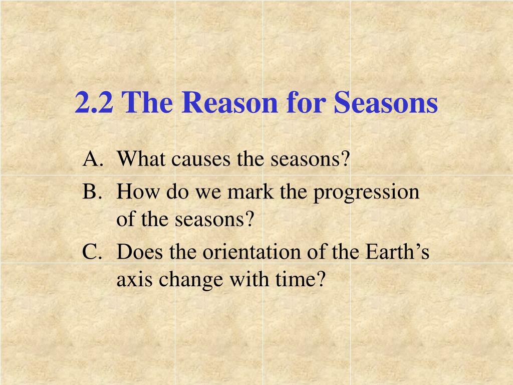 2.2 The Reason for Seasons