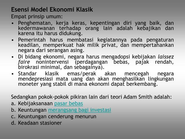 Esensi Model Ekonomi Klasik