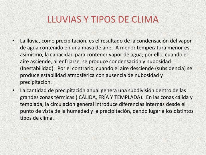 LLUVIAS Y TIPOS DE CLIMA