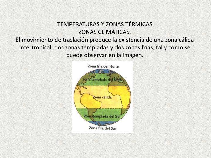 TEMPERATURAS Y ZONAS TÉRMICAS