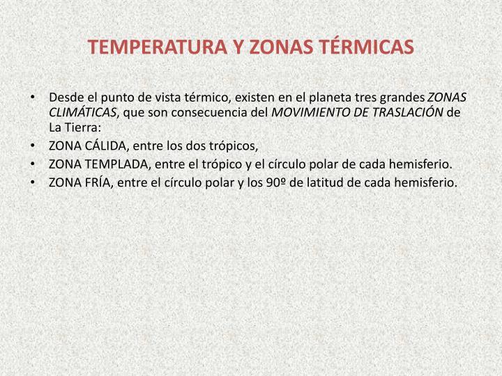 TEMPERATURA Y ZONAS TÉRMICAS