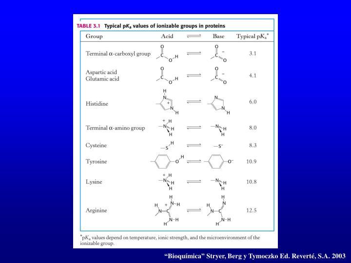 """""""Bioquímica"""" Stryer, Berg y Tymoczko Ed. Reverté, S.A. 2003"""