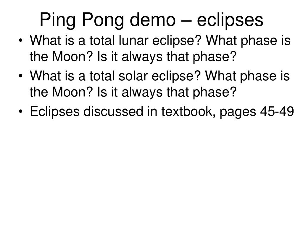 Ping Pong demo – eclipses