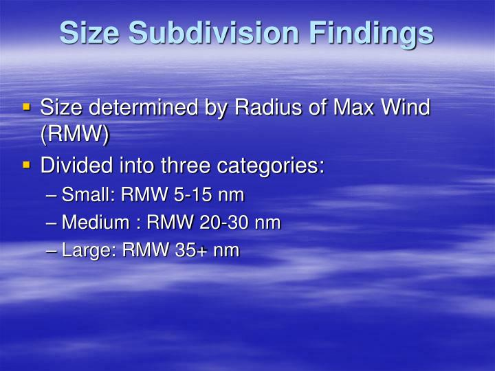 Size Subdivision Findings