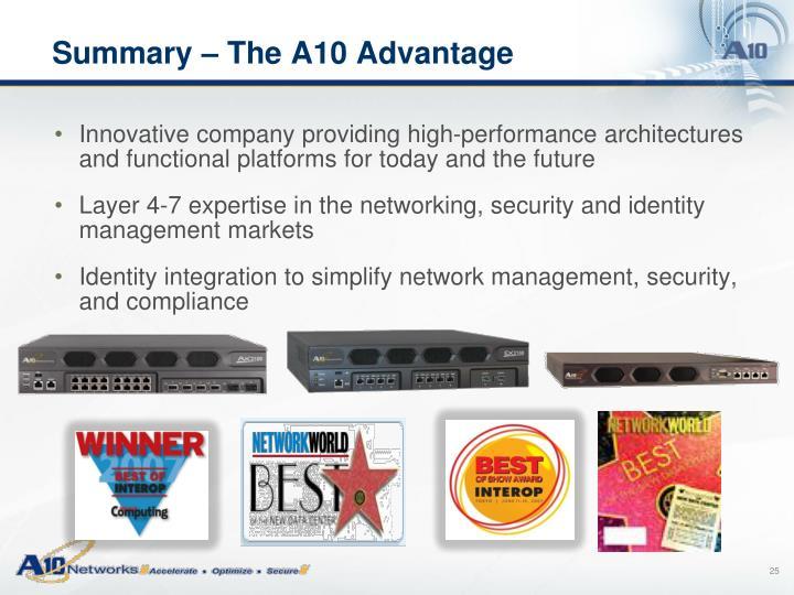 Summary – The A10 Advantage
