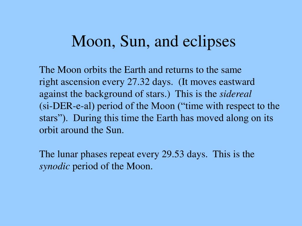 Moon, Sun, and eclipses