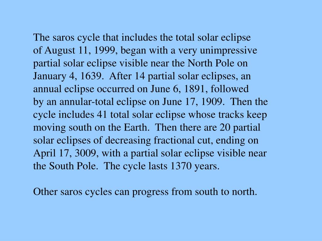 The saros cycle that includes the total solar eclipse
