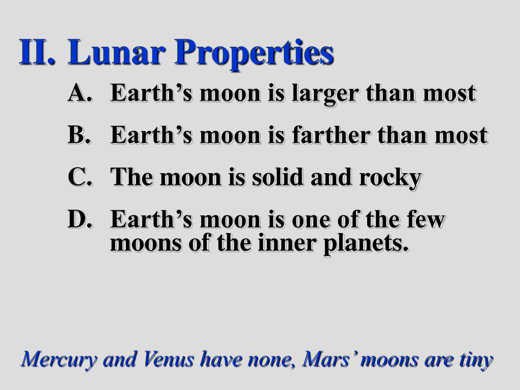 Lunar Properties