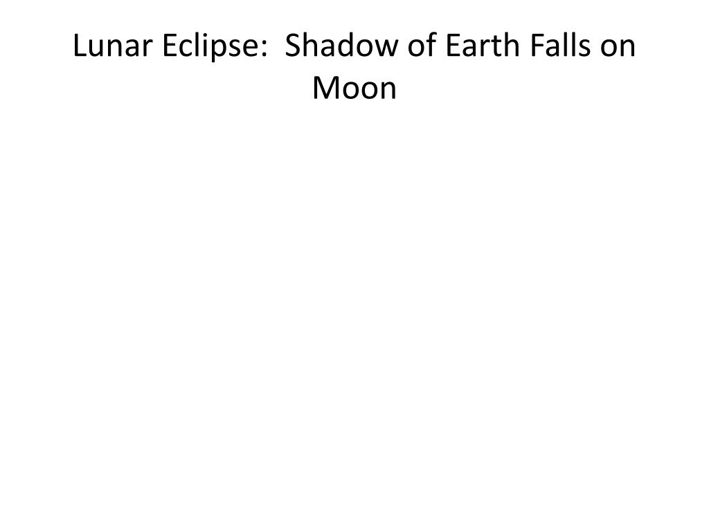 Lunar Eclipse:  Shadow of Earth Falls on Moon