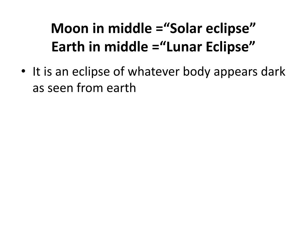 """Moon in middle =""""Solar eclipse"""""""