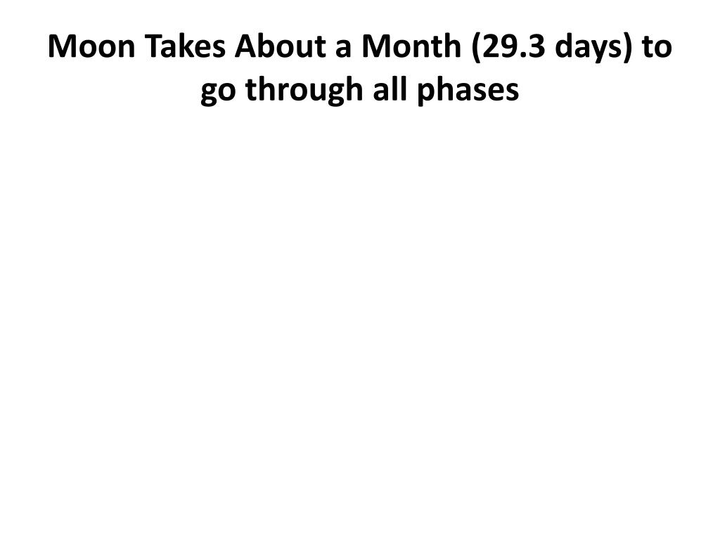 Moon Takes About a Month (29.3 days) to go through all phases