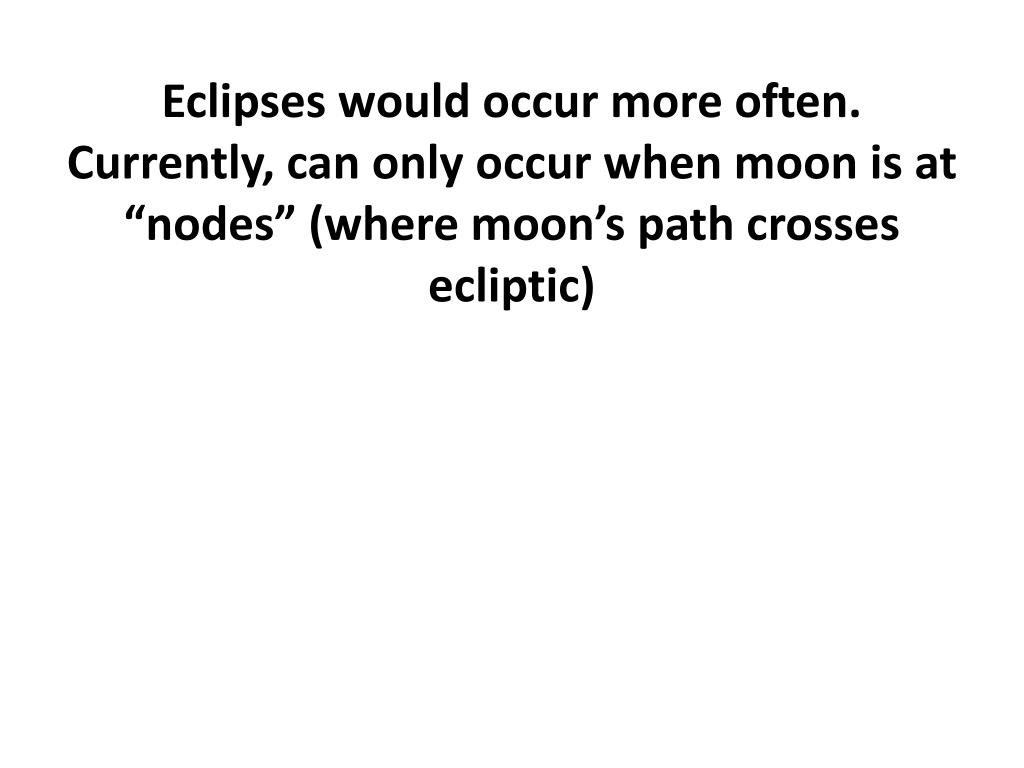 Eclipses would occur more often.