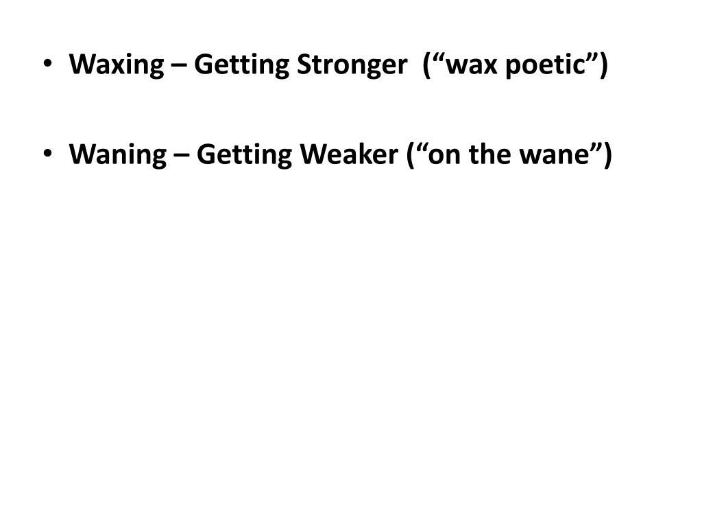 """Waxing – Getting Stronger  (""""wax poetic"""")"""