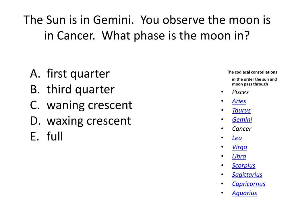 The Sun is in Gemini.  You observe the moon is in Cancer.  What phase is the moon in?