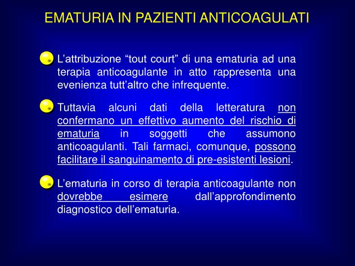 EMATURIA IN PAZIENTI ANTICOAGULATI