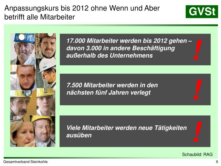 Anpassungskurs bis 2012 ohne Wenn und Aber betrifft alle Mitarbeiter