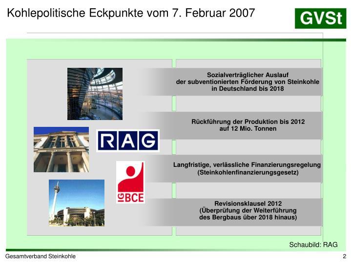 Kohlepolitische Eckpunkte vom 7. Februar 2007