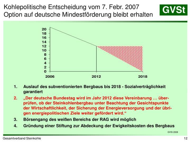 Kohlepolitische Entscheidung vom 7. Febr. 2007