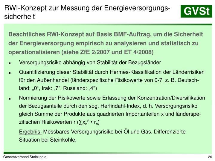 RWI-Konzept zur Messung der Energieversorgungs-sicherheit