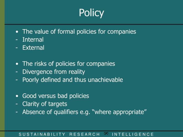 The value of formal policies for companies