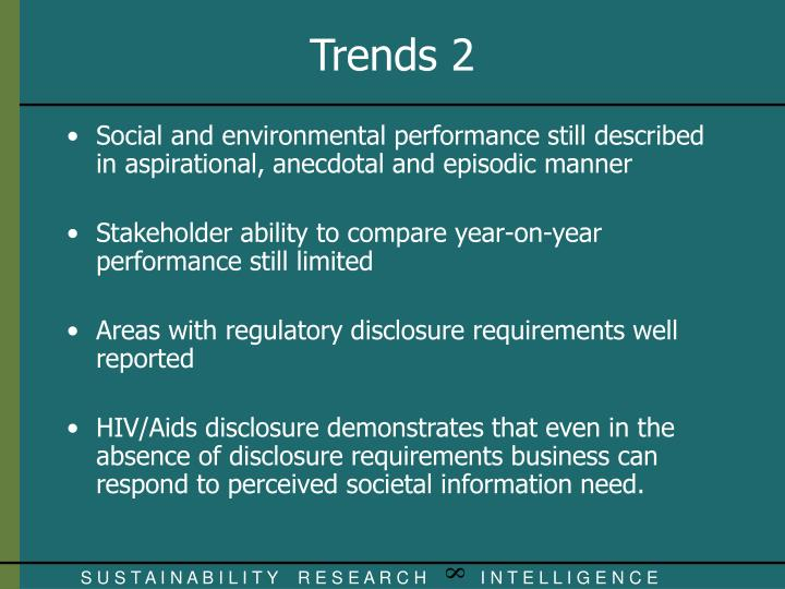 Social and environmental performance still described in aspirational, anecdotal and episodic manner