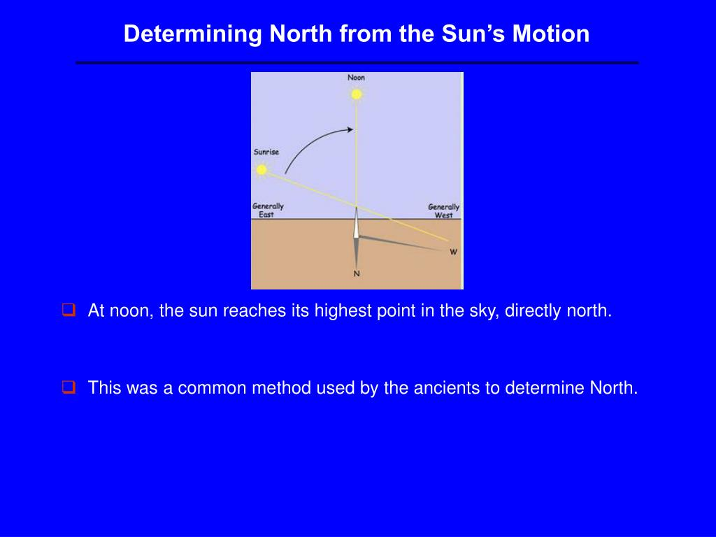 Determining North from the Sun's Motion