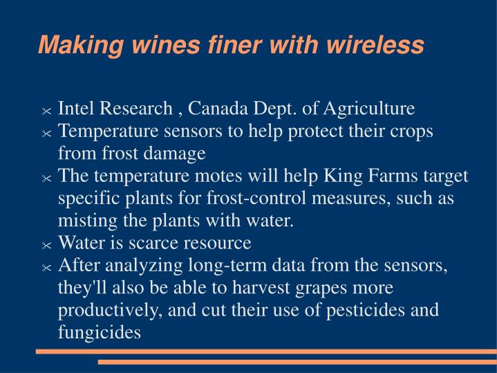 Making wines finer with wireless