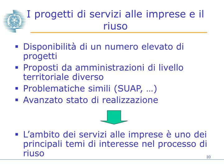 I progetti di servizi alle imprese e il riuso