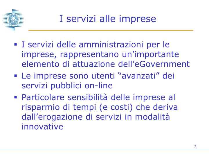 I servizi alle imprese