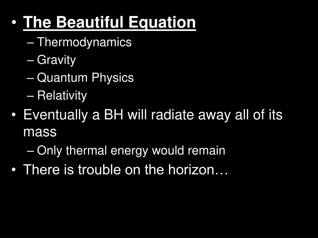 The Beautiful Equation