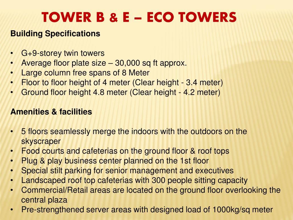 TOWER B & E – ECO TOWERS