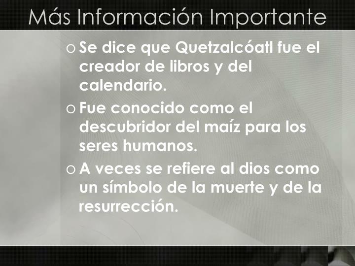 Más Información Importante