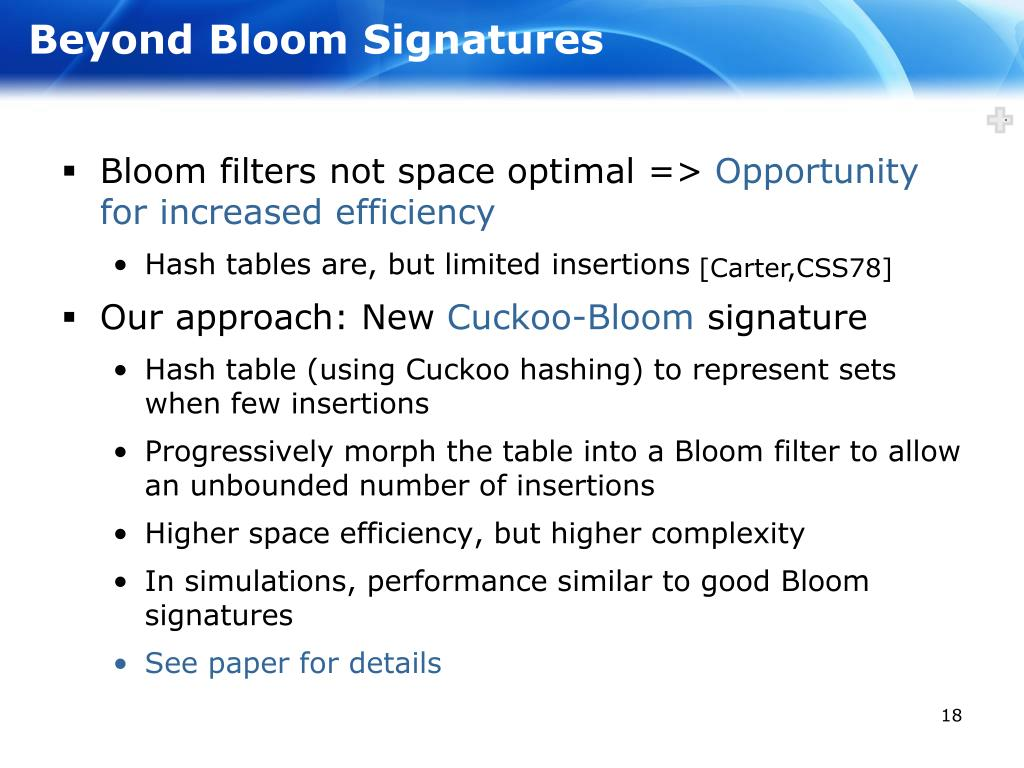 Beyond Bloom Signatures