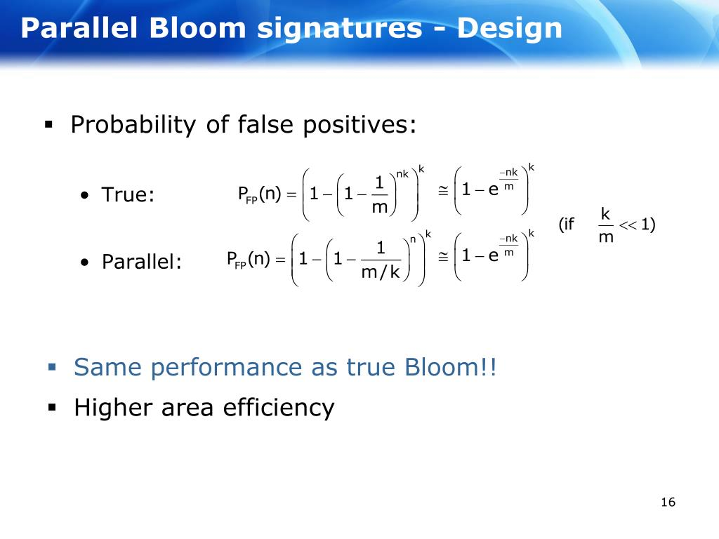 Parallel Bloom signatures - Design