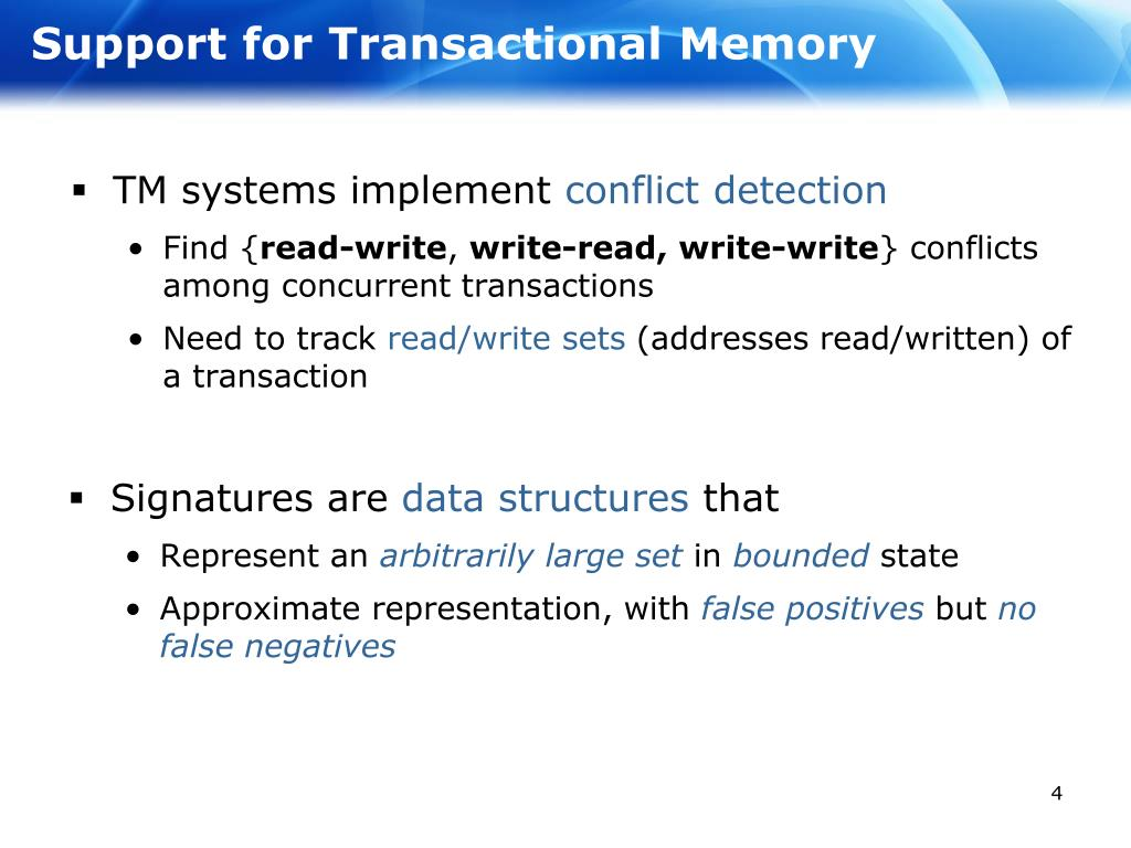 Support for Transactional Memory