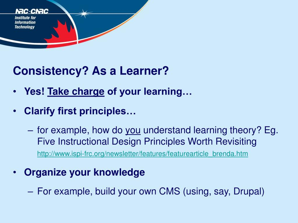 Consistency? As a Learner?