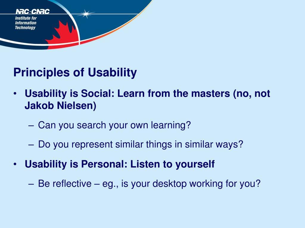 Principles of Usability