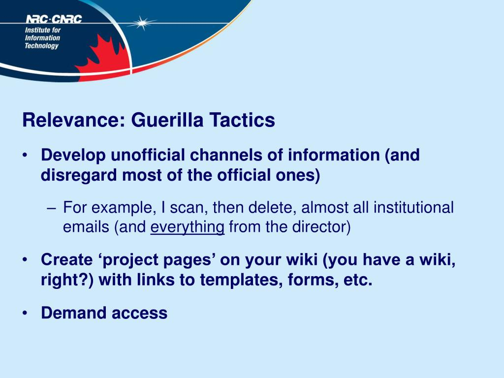 Relevance: Guerilla Tactics