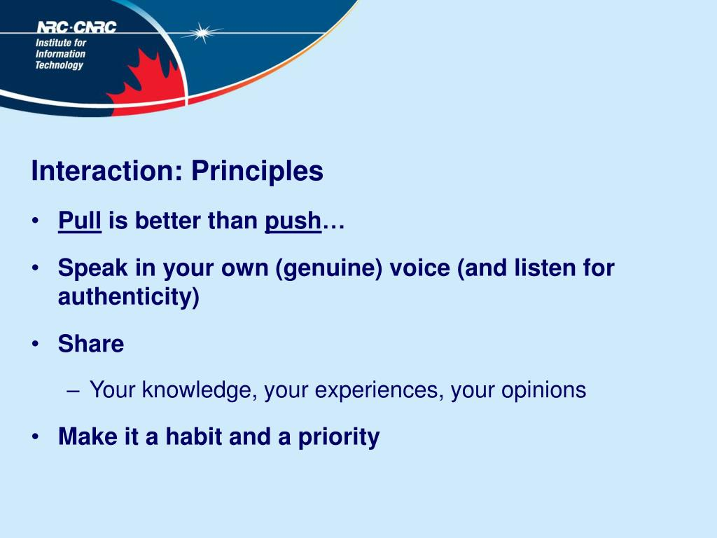 Interaction: Principles