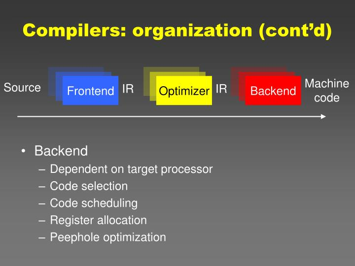 Compilers: organization (cont'd)