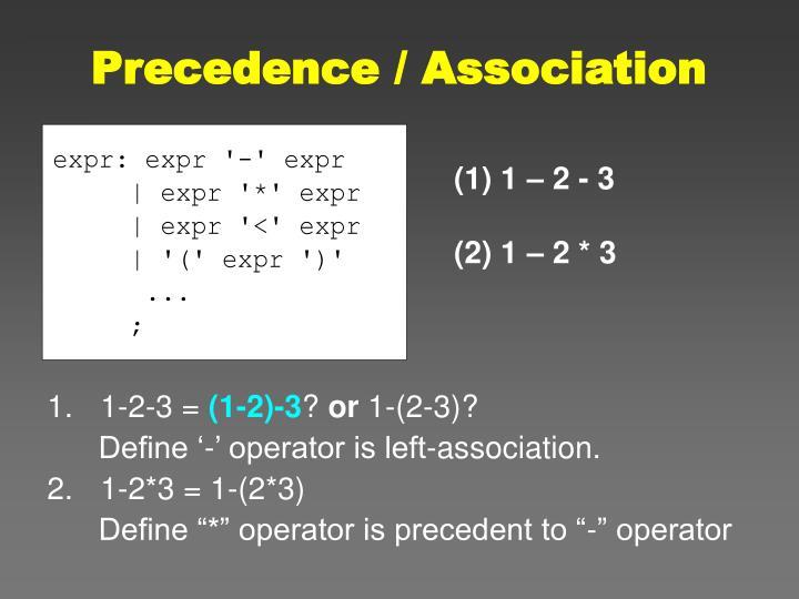 Precedence / Association