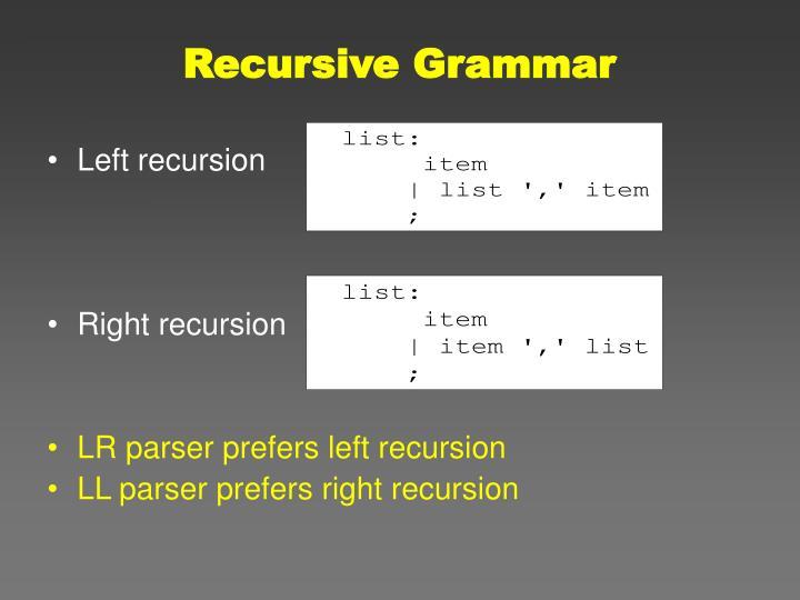 Recursive Grammar