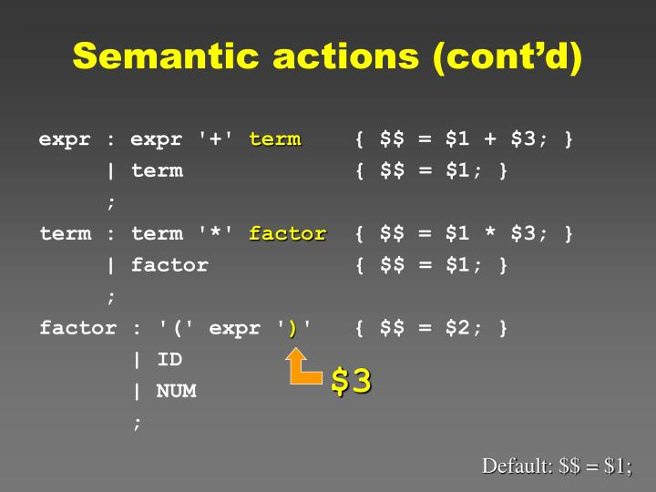 Semantic actions (cont'd)