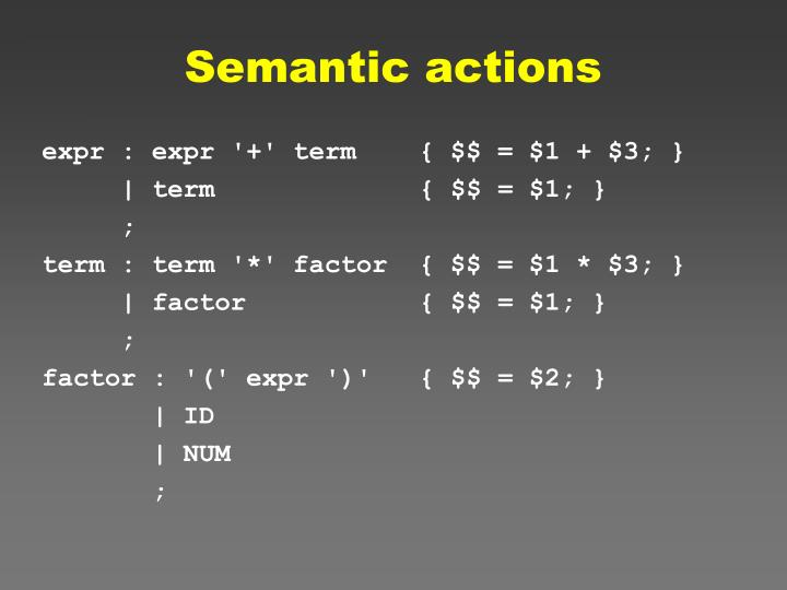 Semantic actions