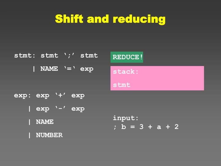Shift and reducing