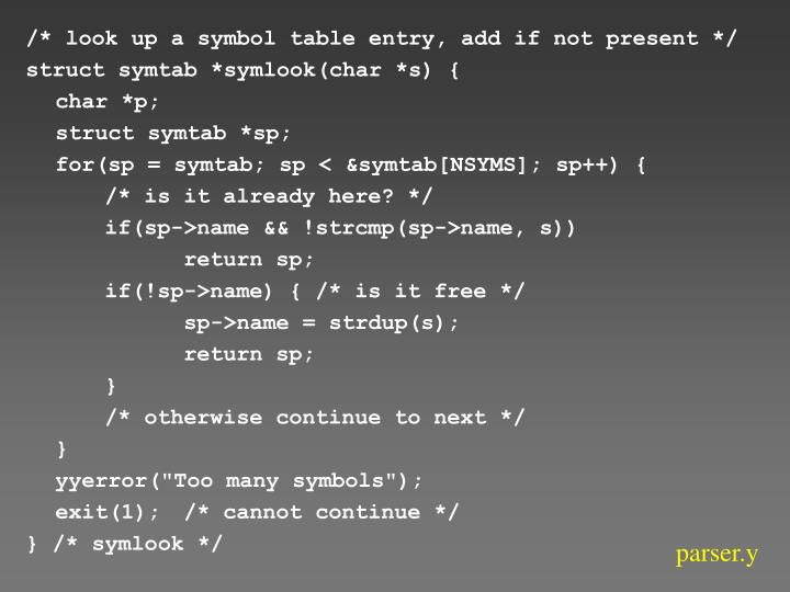 /* look up a symbol table entry, add if not present */