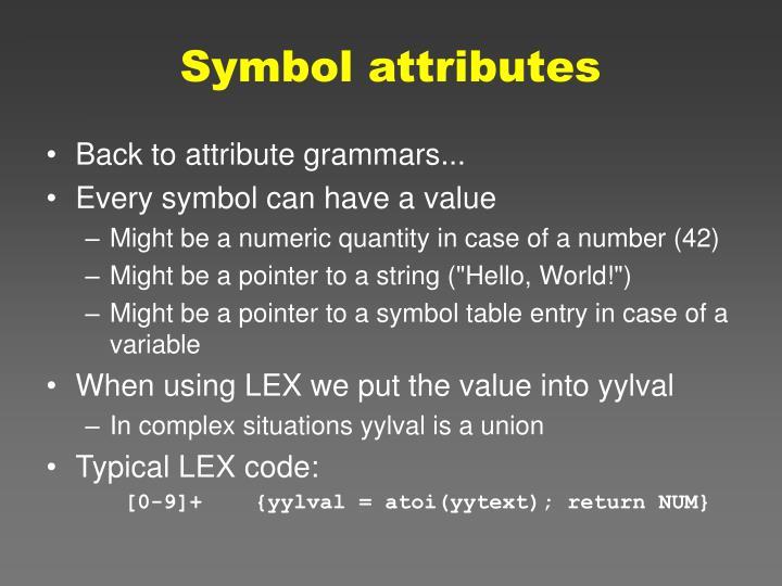 Symbol attributes